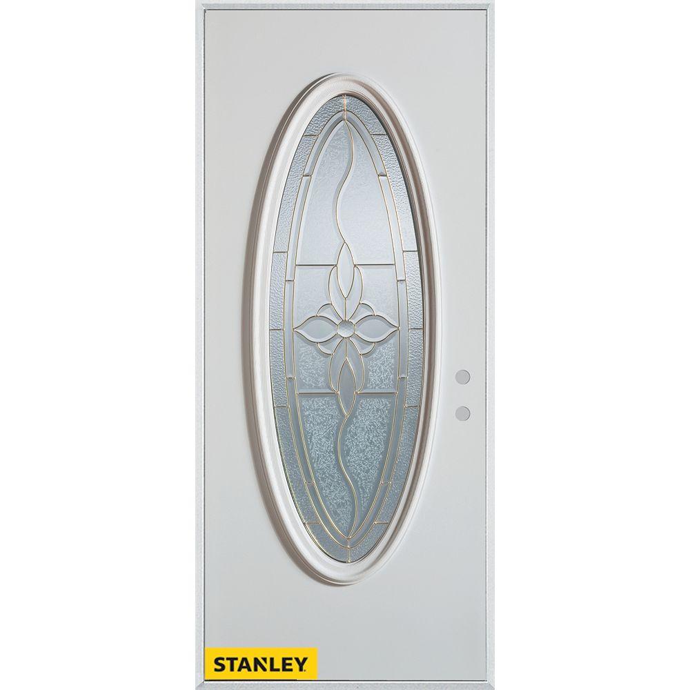 STANLEY Doors Porte dentrée en acier préfini blanc, munie dun verre zinc ovale, 34 po x 80 po - Gauche - ENERGY STAR®