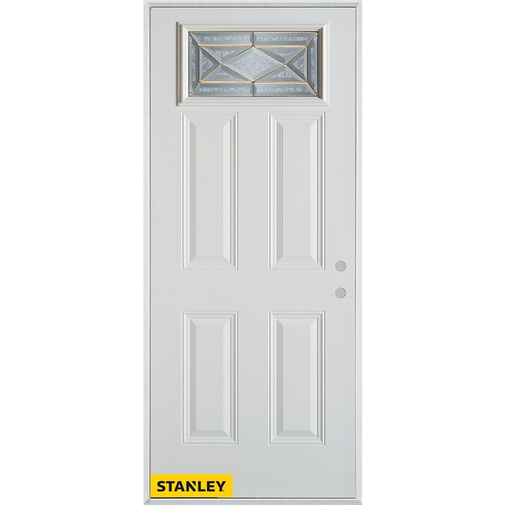 STANLEY Doors 33.375 inch x 82.375 inch Queen Anne Zinc Rectangular Lite 4-Panel Prefinished White Left-Hand Inswing Steel Prehung Front Door - ENERGY STAR®