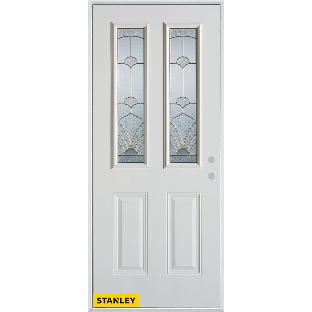 STANLEY Doors 37.375 inch x 82.375 inch Florentine Patina 2-Lite 2-Panel Prefinished White Left-Hand Inswing Steel Prehung Front Door - ENERGY STAR®
