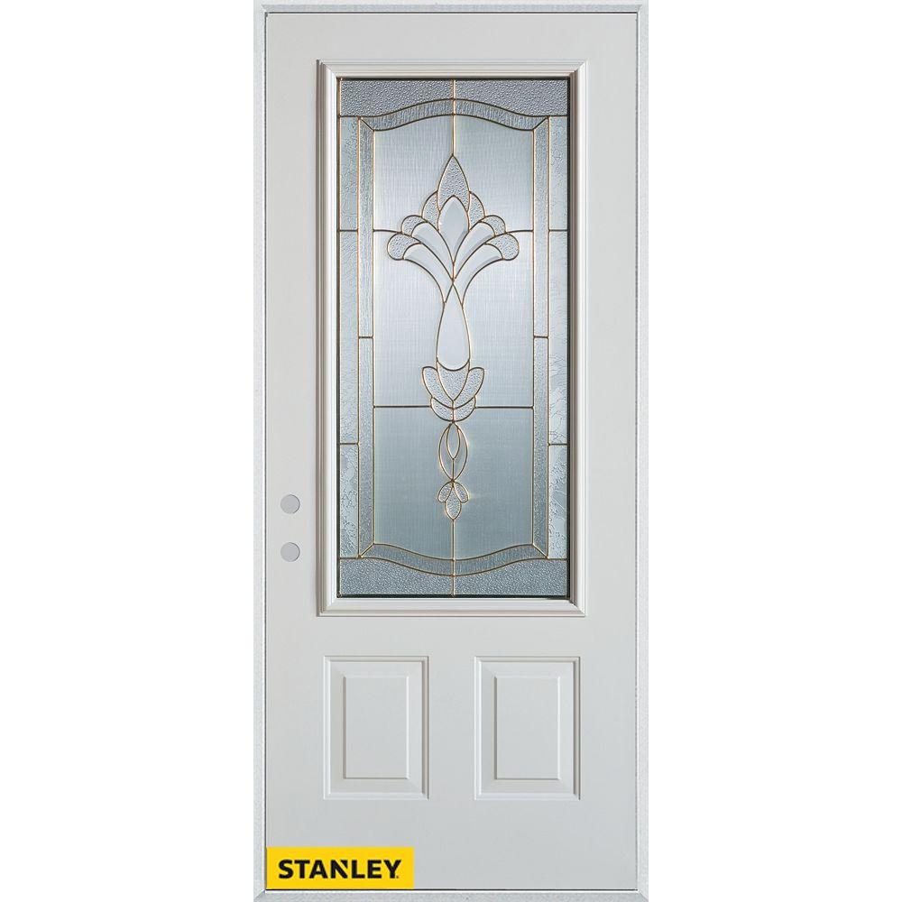 STANLEY Doors 33.375 inch x 82.375 inch Karina Brass 3/4 Lite 2-Panel Prefinished White Right-Hand Inswing Steel Prehung Front Door - ENERGY STAR®