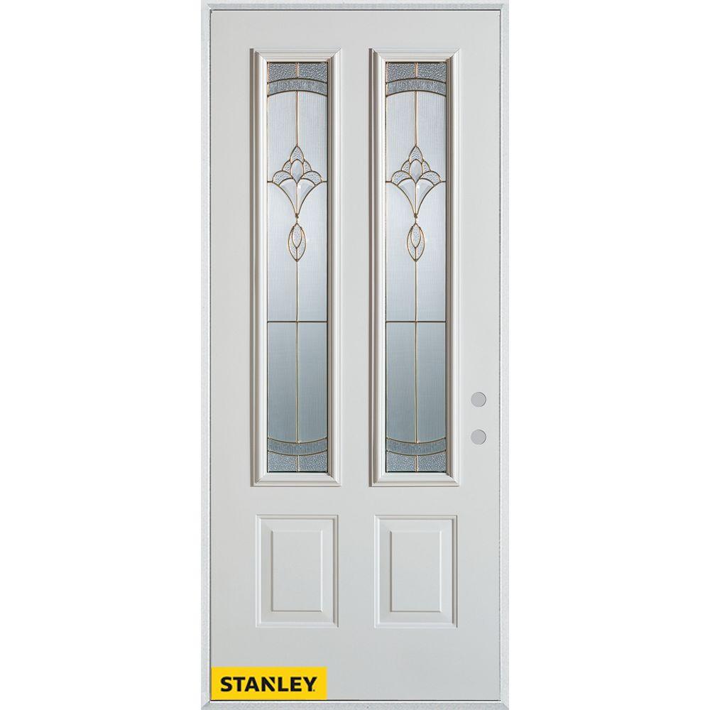 STANLEY Doors 33.375 inch x 82.375 inch Karina Brass 2-Lite 2-Panel Prefinished White Left-Hand Inswing Steel Prehung Front Door - ENERGY STAR®