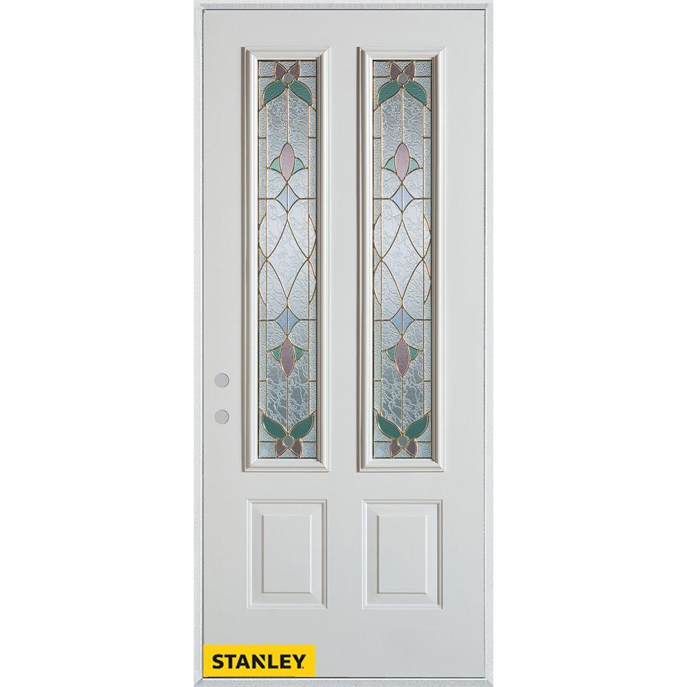 STANLEY Doors 37.375 inch x 82.375 inch Aristocrat Patina 2-Lite 2-Panel Prefinished White Right-Hand Inswing Steel Prehung Front Door - ENERGY STAR®