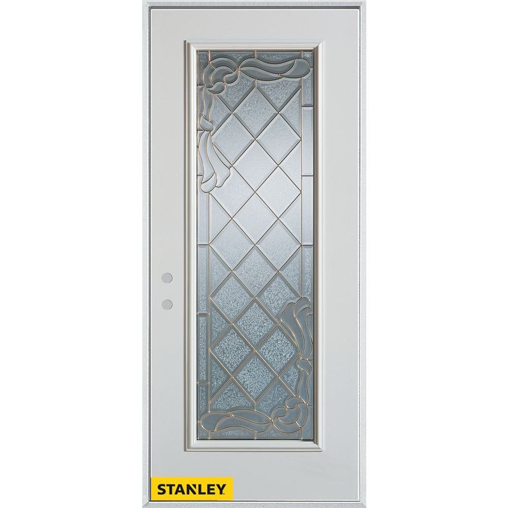 STANLEY Doors 35.375 inch x 82.375 inch Queen Anne Brass Full Lite Prefinished White Right-Hand Inswing Steel Prehung Front Door - ENERGY STAR®