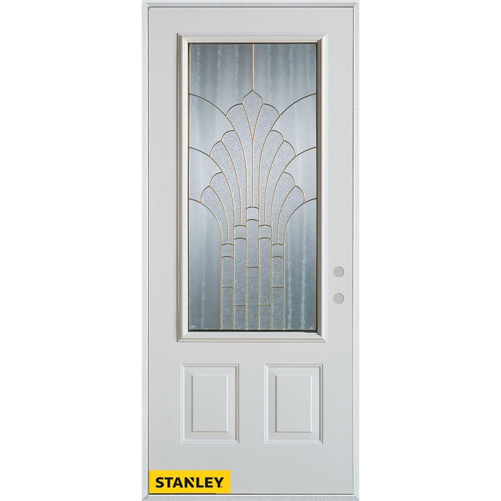 STANLEY Doors Porte dentrée en acier préfini blanc, munie de deux panneaux et dun 3/4 verre zinc, en 36 po x 80 po - Gauche - ENERGY STAR®