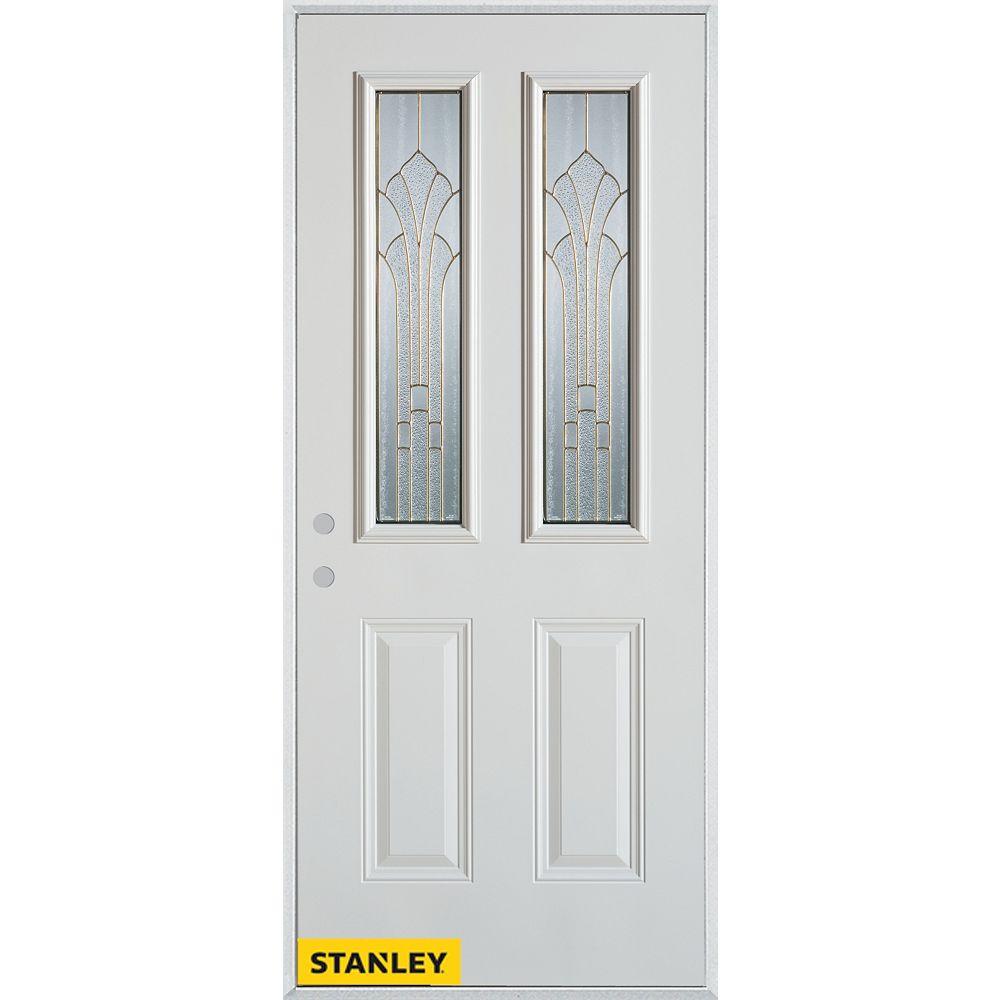 STANLEY Doors 35.375 inch x 82.375 inch Gladis Zinc 2-Lite 2-Panel Prefinished White Right-Hand Inswing Steel Prehung Front Door - ENERGY STAR®