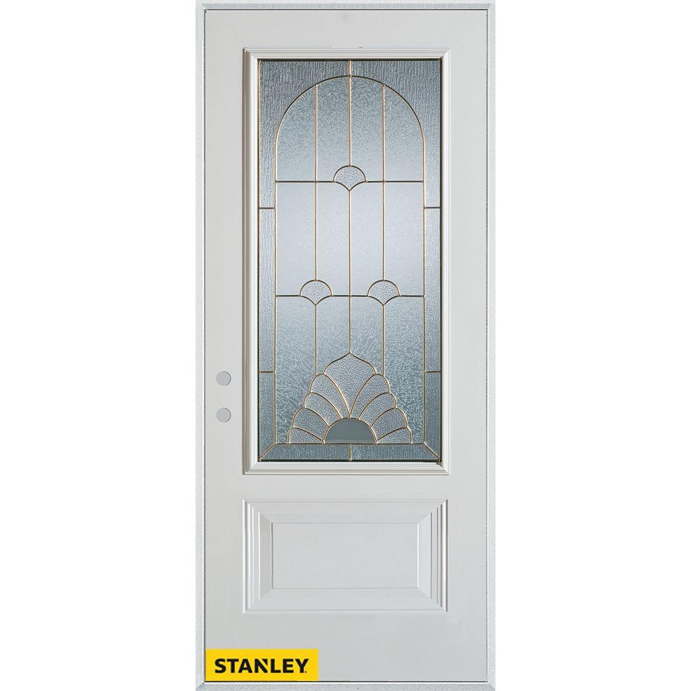 STANLEY Doors 35.375 inch x 82.375 inch Florentine Brass 3/4 Lite 1-Panel Prefinished White Right-Hand Inswing Steel Prehung Front Door - ENERGY STAR®