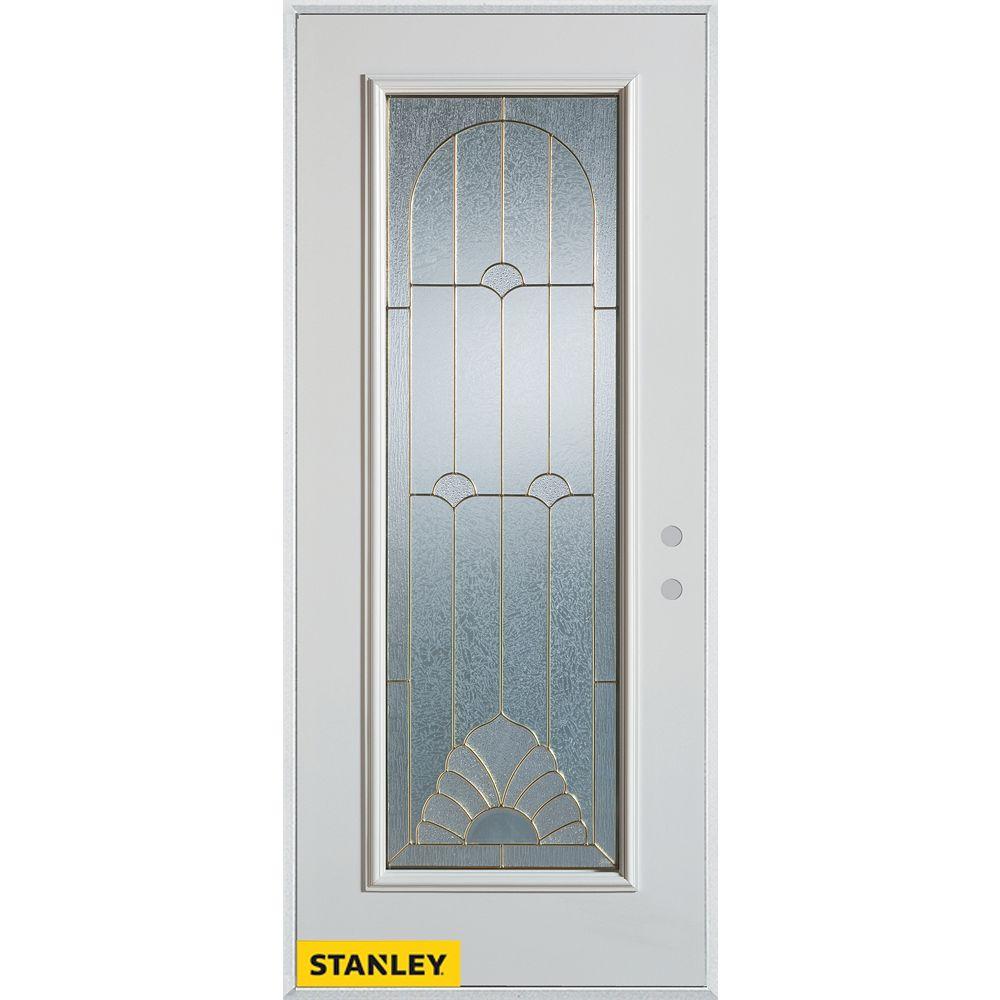 STANLEY Doors 33.375 inch x 82.375 inch Florentine Brass Full Lite Prefinished White Left-Hand Inswing Steel Prehung Front Door - ENERGY STAR®