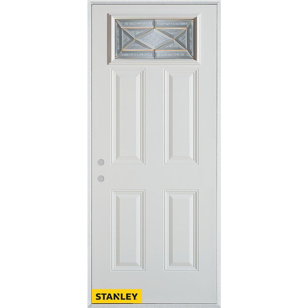 STANLEY Doors 35.375 inch x 82.375 inch Queen Anne Brass Rectangular Lite 4-Panel Prefinished White Right-Hand Inswing Steel Prehung Front Door - ENERGY STAR®