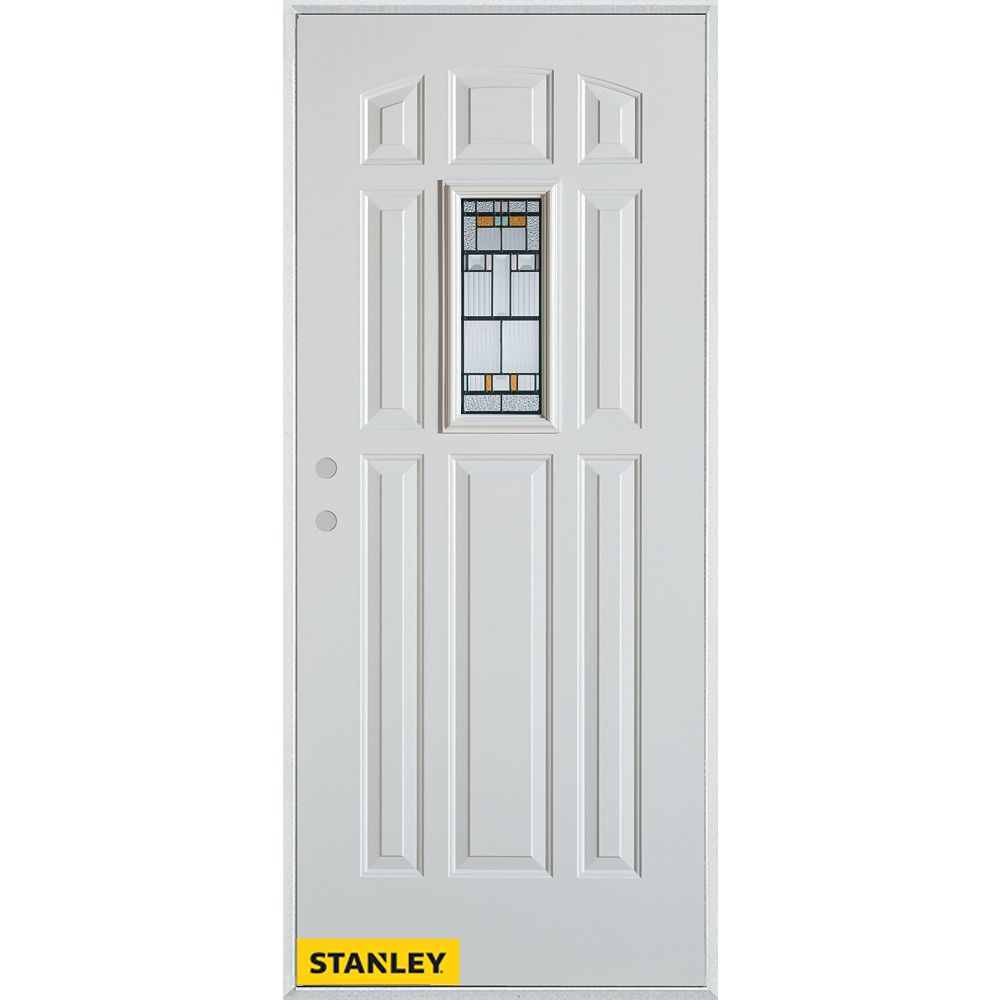 STANLEY Doors 33.375 inch x 82.375 inch Chicago Patina Rectangular Lite 9-Panel Prefinished White Right-Hand Inswing Steel Prehung Front Door - ENERGY STAR®