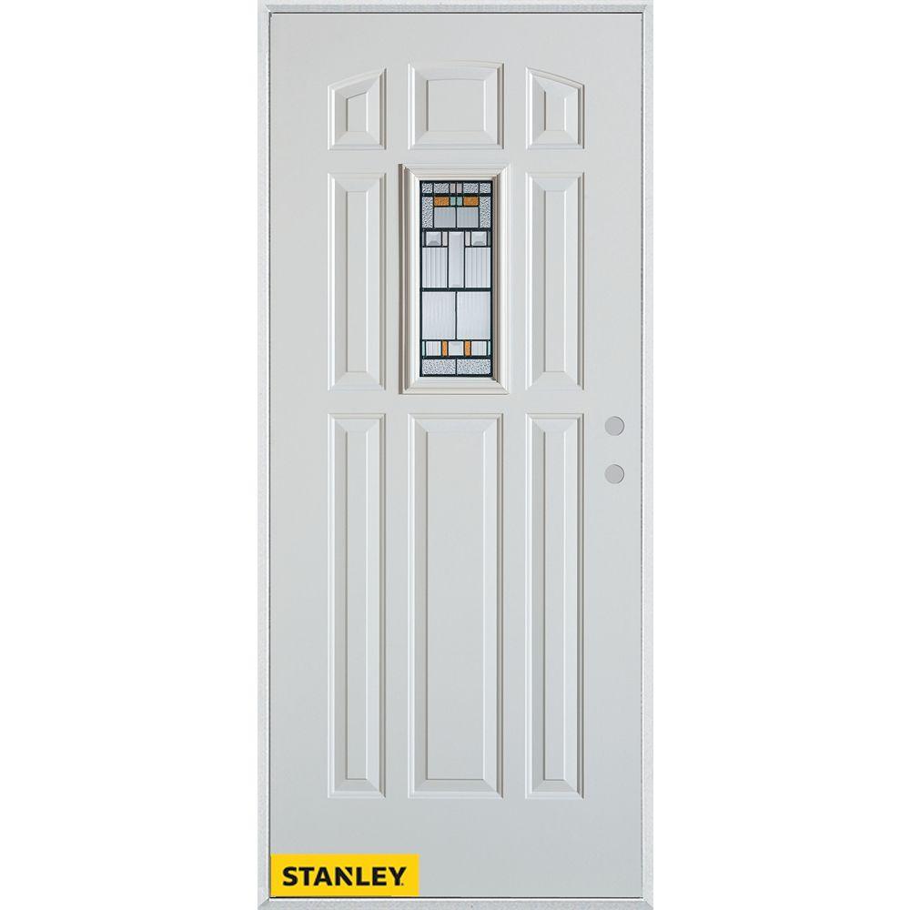 STANLEY Doors Porte dentrée en acier préfini blanc, munie de huit panneaux et dun verre rectangulaire, 36 po x 80 po - Gauche - ENERGY STAR®