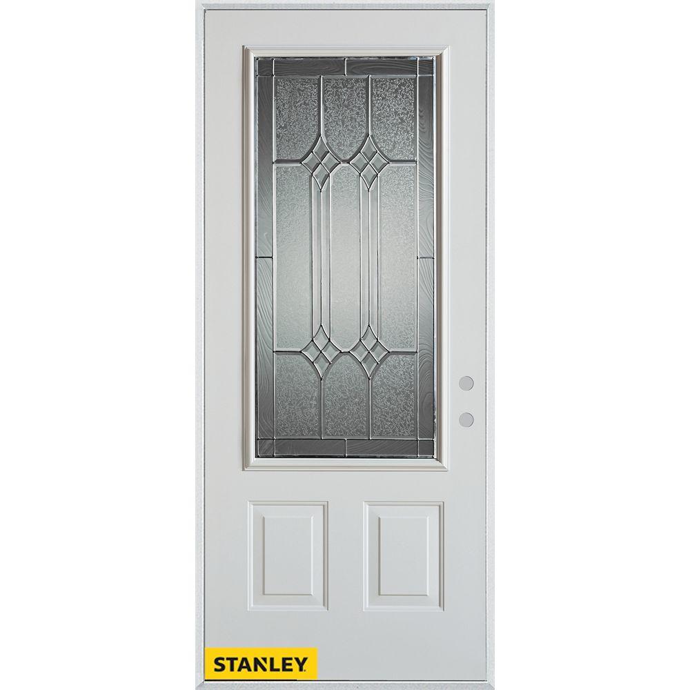 STANLEY Doors Porte dentrée en acier préfini blanc, munie de deux panneaux et dun 3/4 verre patina, en 36 po x 80 po - Gauche - ENERGY STAR®