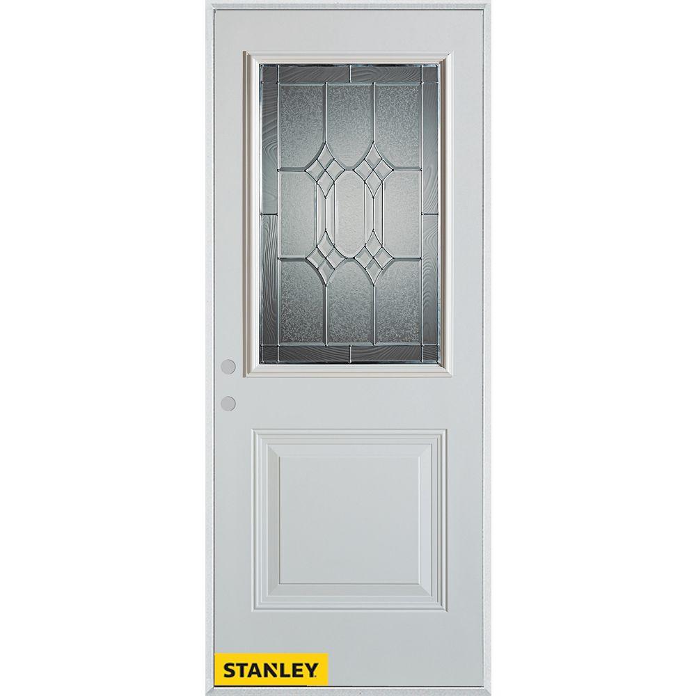 STANLEY Doors 33.375 inch x 82.375 inch Orleans Zinc 1/2 Lite 1-Panel Prefinished White Right-Hand Inswing Steel Prehung Front Door - ENERGY STAR®