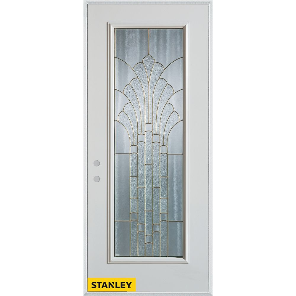 STANLEY Doors 37.375 inch x 82.375 inch Gladis Brass Full Lite Prefinished White Right-Hand Inswing Steel Prehung Front Door - ENERGY STAR®