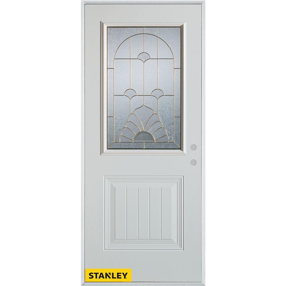 STANLEY Doors 37.375 inch x 82.375 inch Florentine Patina 1/2 Lite 1-Panel Prefinished White Left-Hand Inswing Steel Prehung Front Door - ENERGY STAR®