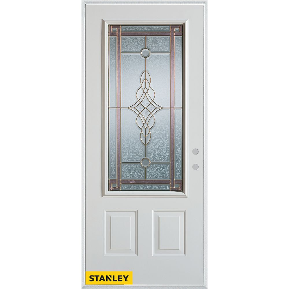 STANLEY Doors 37.375 inch x 82.375 inch Milano Patina 3/4 Lite 2-Panel Prefinished White Left-Hand Inswing Steel Prehung Front Door - ENERGY STAR®