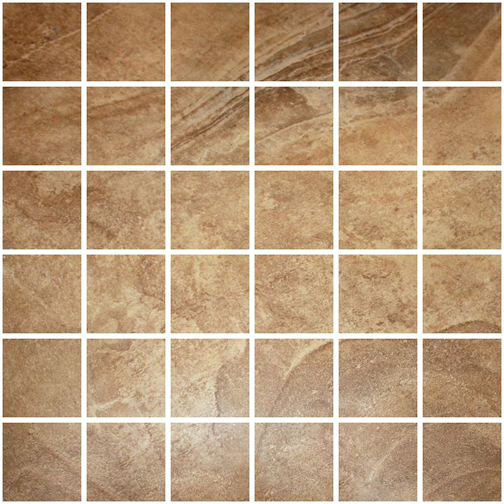 Modamo Mosaïque de céramique aspect pierre doux couleur brun - 5,08 cm x 5,08 cm (2 po x 2 po)