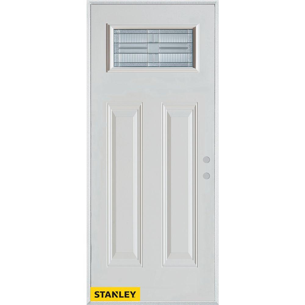 STANLEY Doors Porte dentrée en acier préfini blanc, munie de quatre panneaux et dun verre patina rectangulaire, 34 po x 80 po - Gauche - ENERGY STAR®