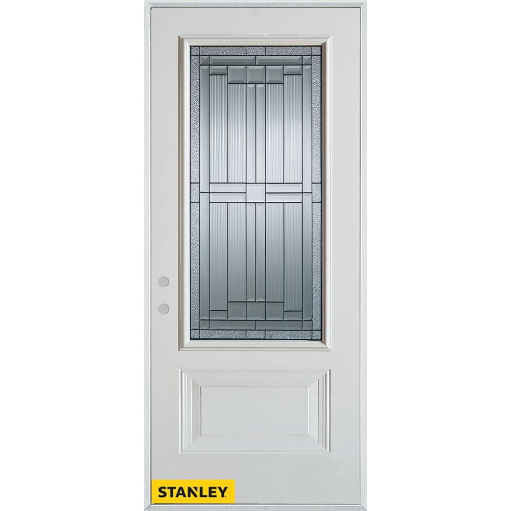 STANLEY Doors 35.375 inch x 82.375 inch Seattle Patina 3/4 Lite 1-Panel Prefinished White Right-Hand Inswing Steel Prehung Front Door - ENERGY STAR®