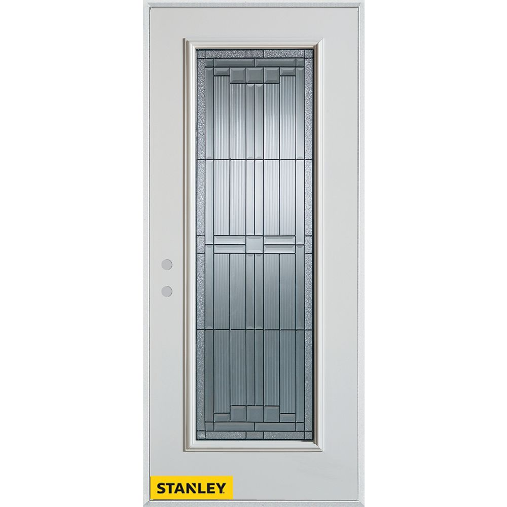 STANLEY Doors 33.375 inch x 82.375 inch Seattle Zinc Full Lite Prefinished White Right-Hand Inswing Steel Prehung Front Door - ENERGY STAR®