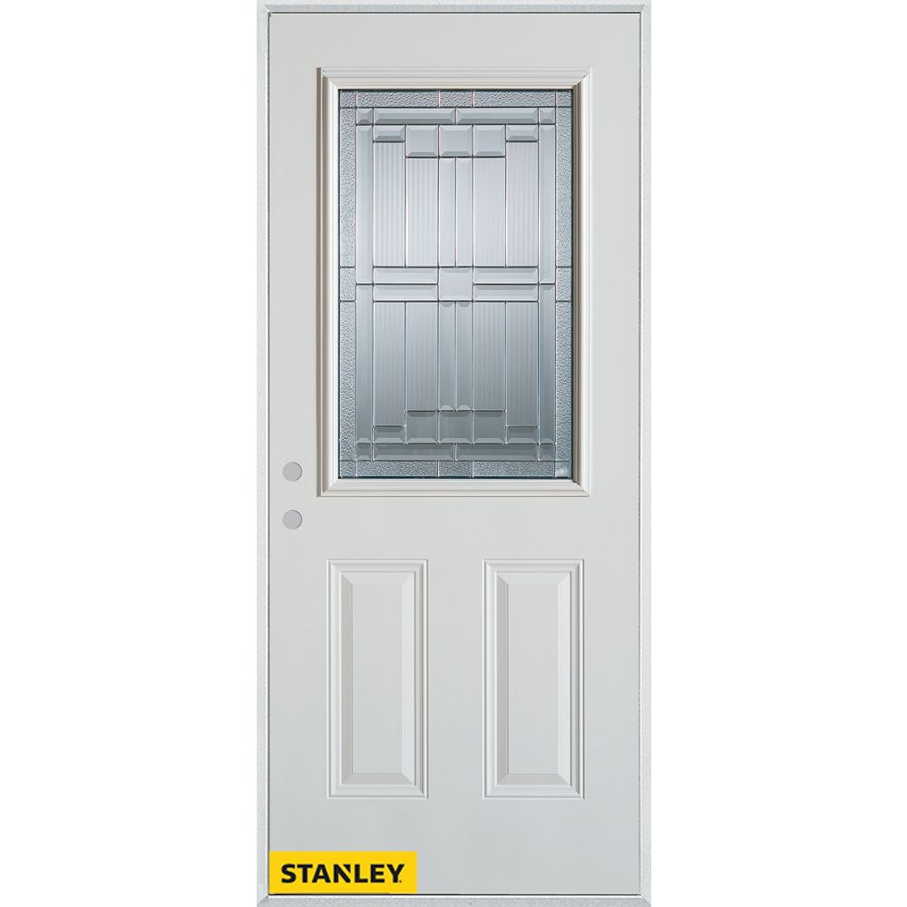 STANLEY Doors 35.375 inch x 82.375 inch Seattle Patina 1/2 Lite 2-Panel Prefinished White Right-Hand Inswing Steel Prehung Front Door - ENERGY STAR®