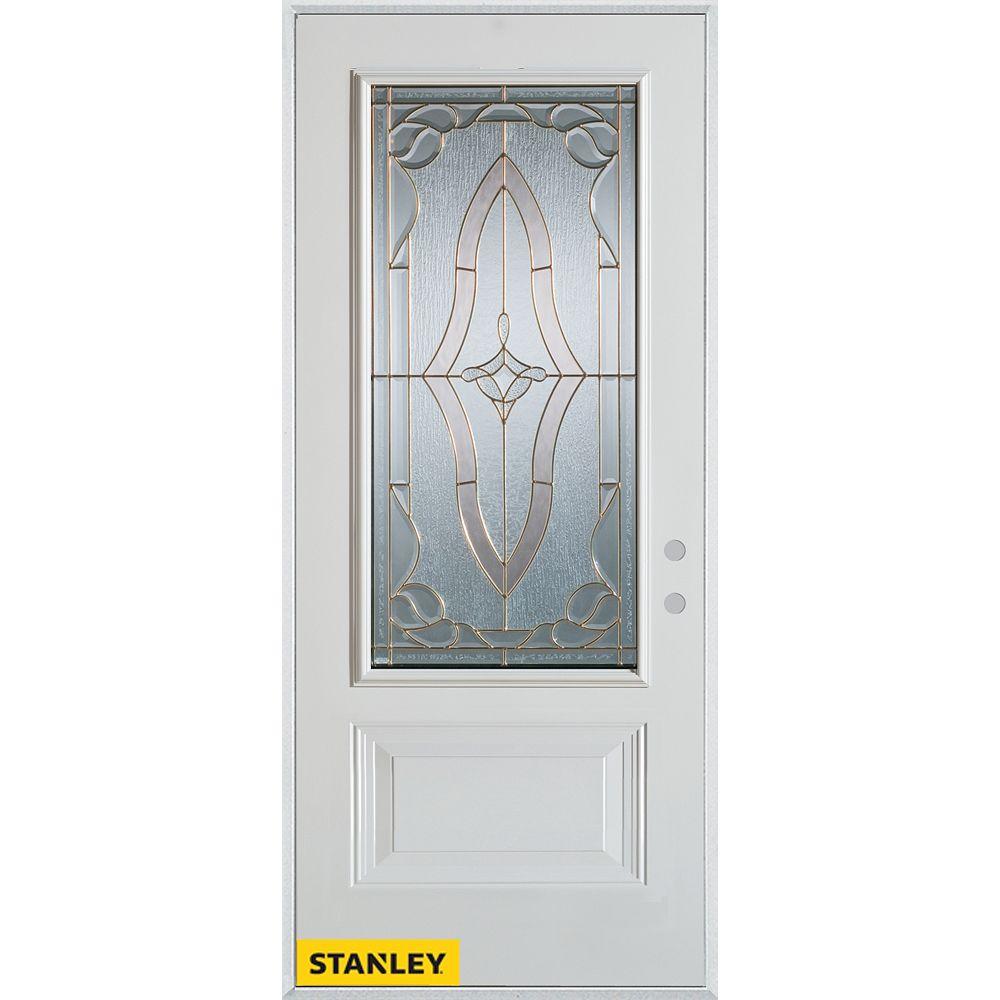 STANLEY Doors 33.375 inch x 82.375 inch Florence Brass 3/4 Lite 1-Panel Prefinished White Left-Hand Inswing Steel Prehung Front Door - ENERGY STAR®