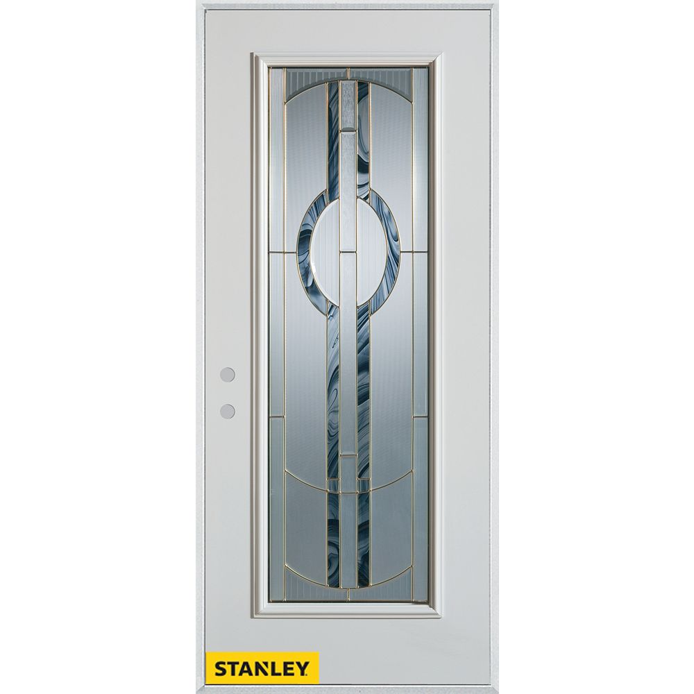 STANLEY Doors 35.375 inch x 82.375 inch Stephany Patina Full Lite Prefinished White Right-Hand Inswing Steel Prehung Front Door - ENERGY STAR®