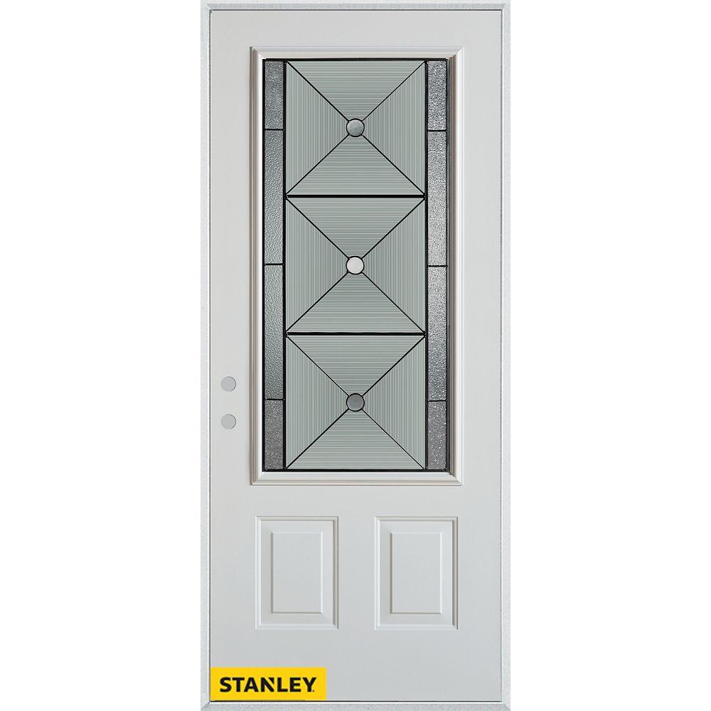 STANLEY Doors 37.375 inch x 82.375 inch Bellochio Patina 3/4 Lite 2-Panel Prefinished White Right-Hand Inswing Steel Prehung Front Door - ENERGY STAR®