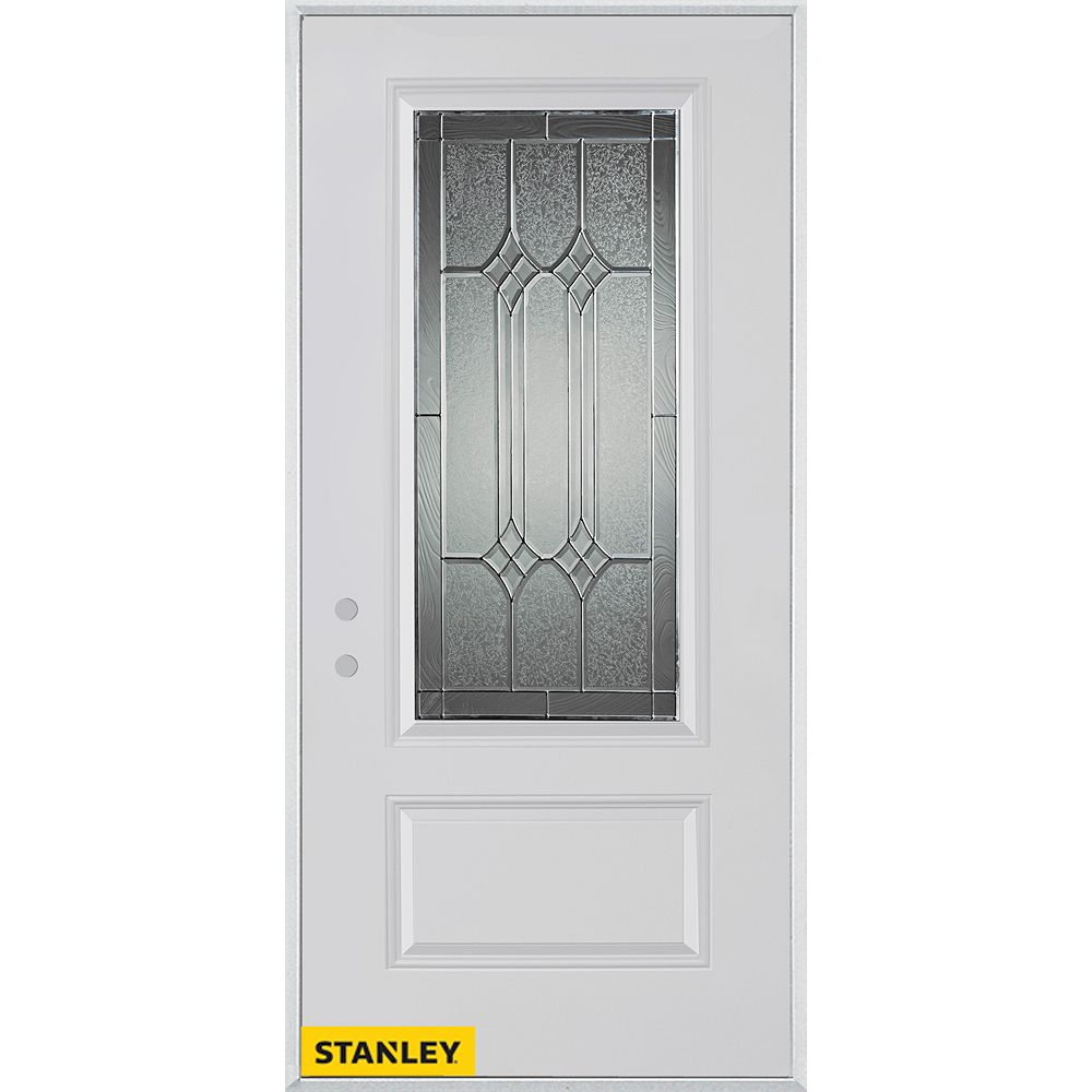 STANLEY Doors 37.375 inch x 82.375 inch Orleans Patina 3/4 Lite 1-Panel Prefinished White Right-Hand Inswing Steel Prehung Front Door - ENERGY STAR®