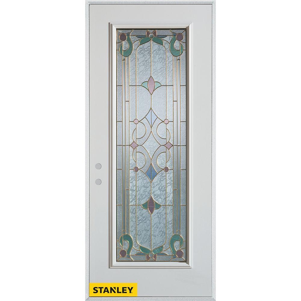 STANLEY Doors 33.375 inch x 82.375 inch Aristocrat Patina Full Lite Prefinished White Right-Hand Inswing Steel Prehung Front Door - ENERGY STAR®
