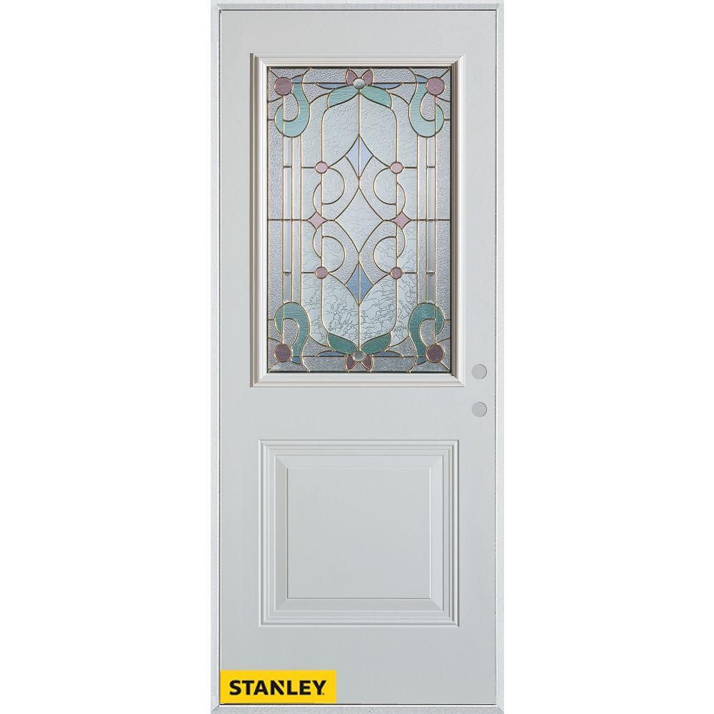 STANLEY Doors 35.375 inch x 82.375 inch Aristocrat Patina 1/2 Lite 1-Panel Prefinished White Left-Hand Inswing Steel Prehung Front Door - ENERGY STAR®