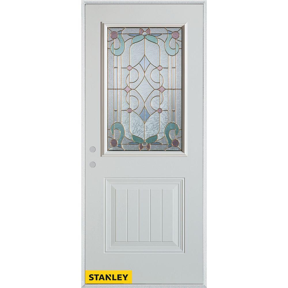 STANLEY Doors 35.375 inch x 82.375 inch Aristocrat Patina 1/2 Lite 1-Panel Prefinished White Right-Hand Inswing Steel Prehung Front Door - ENERGY STAR®