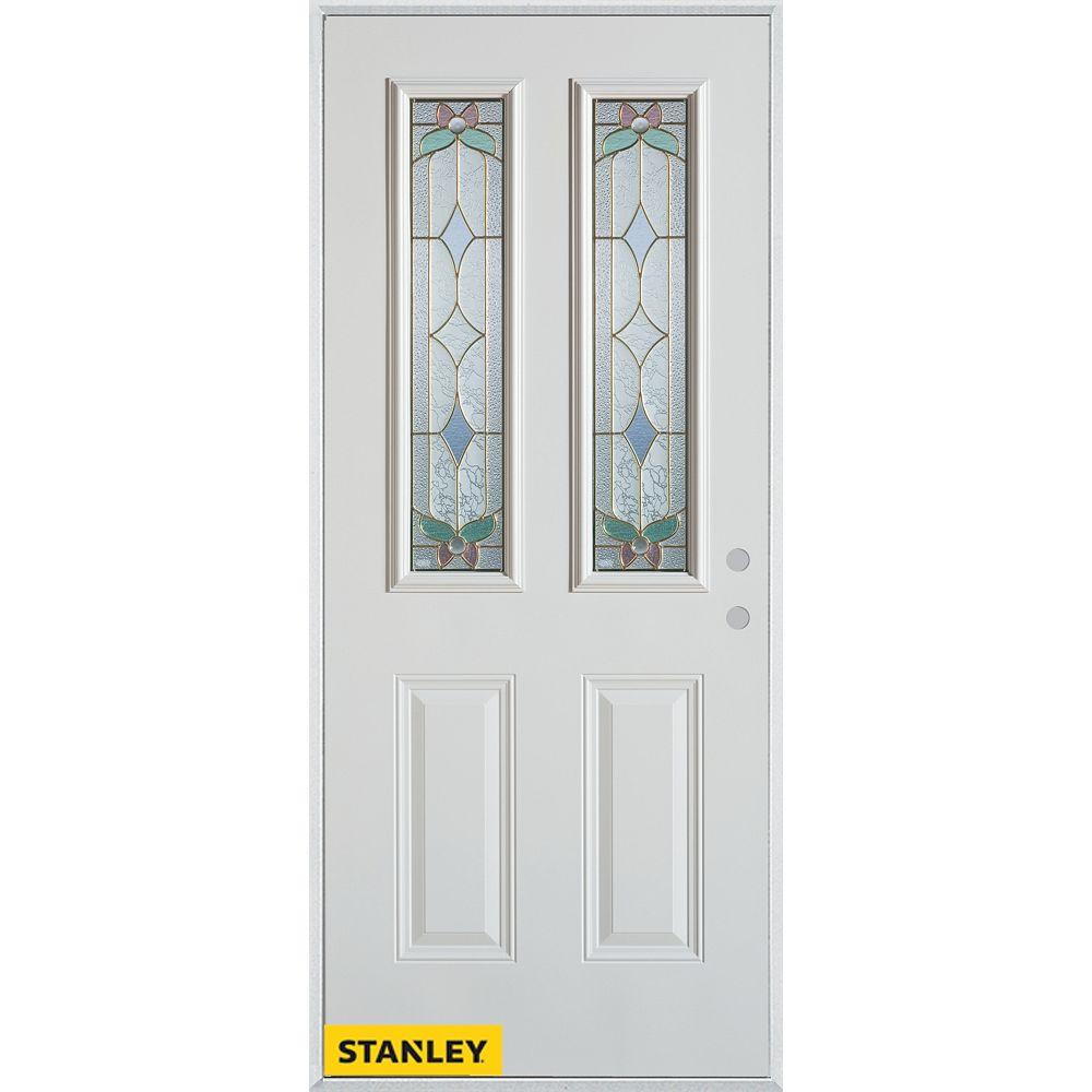 STANLEY Doors 33.375 inch x 82.375 inch Aristocrat Brass 2-Lite 2-Panel Prefinished White Left-Hand Inswing Steel Prehung Front Door - ENERGY STAR®