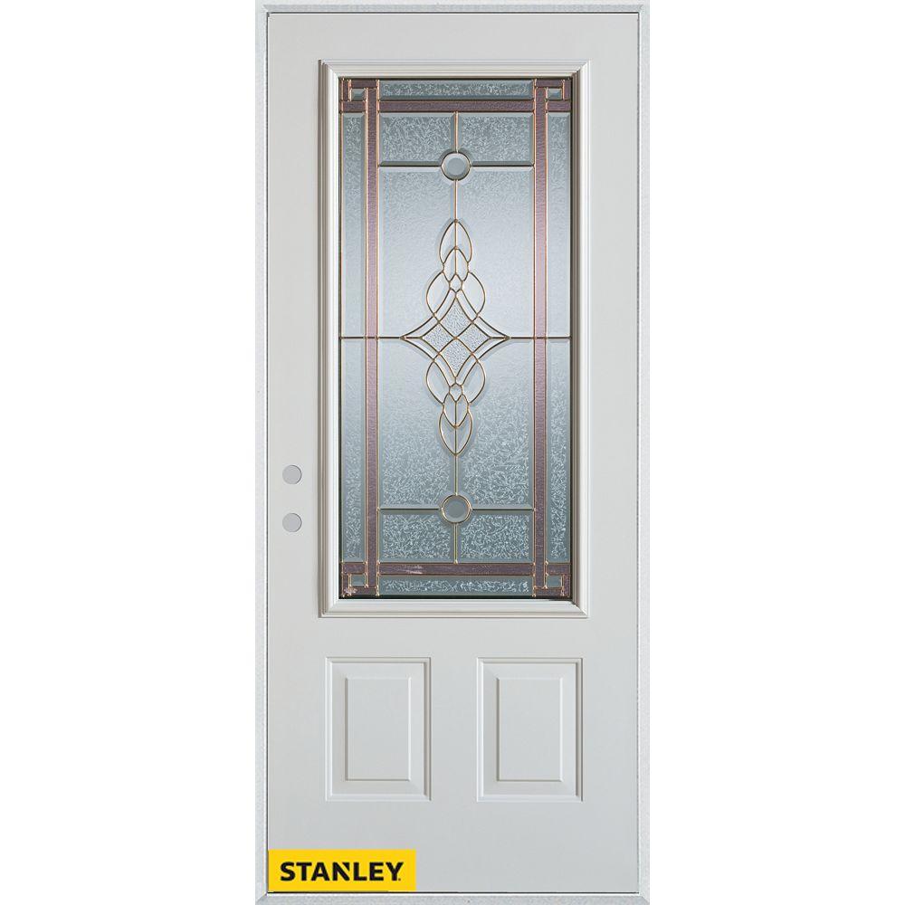 STANLEY Doors Porte dentrée en acier préfini blanc, munie de deux panneaux et dun 3/4 verre patina, 32 po x 80 po - Droite - ENERGY STAR®