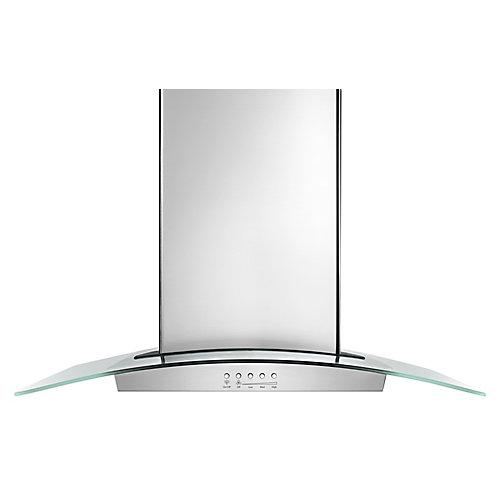 Hotte aspirante murale intelligente avec ventilateur silencieux Quiet Partner, 36 po, 400 PCM, verre