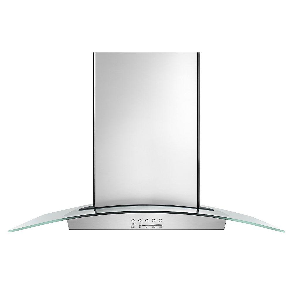Whirlpool 36-inch Modern Glass Island Mount Range Hood in Stainless Steel