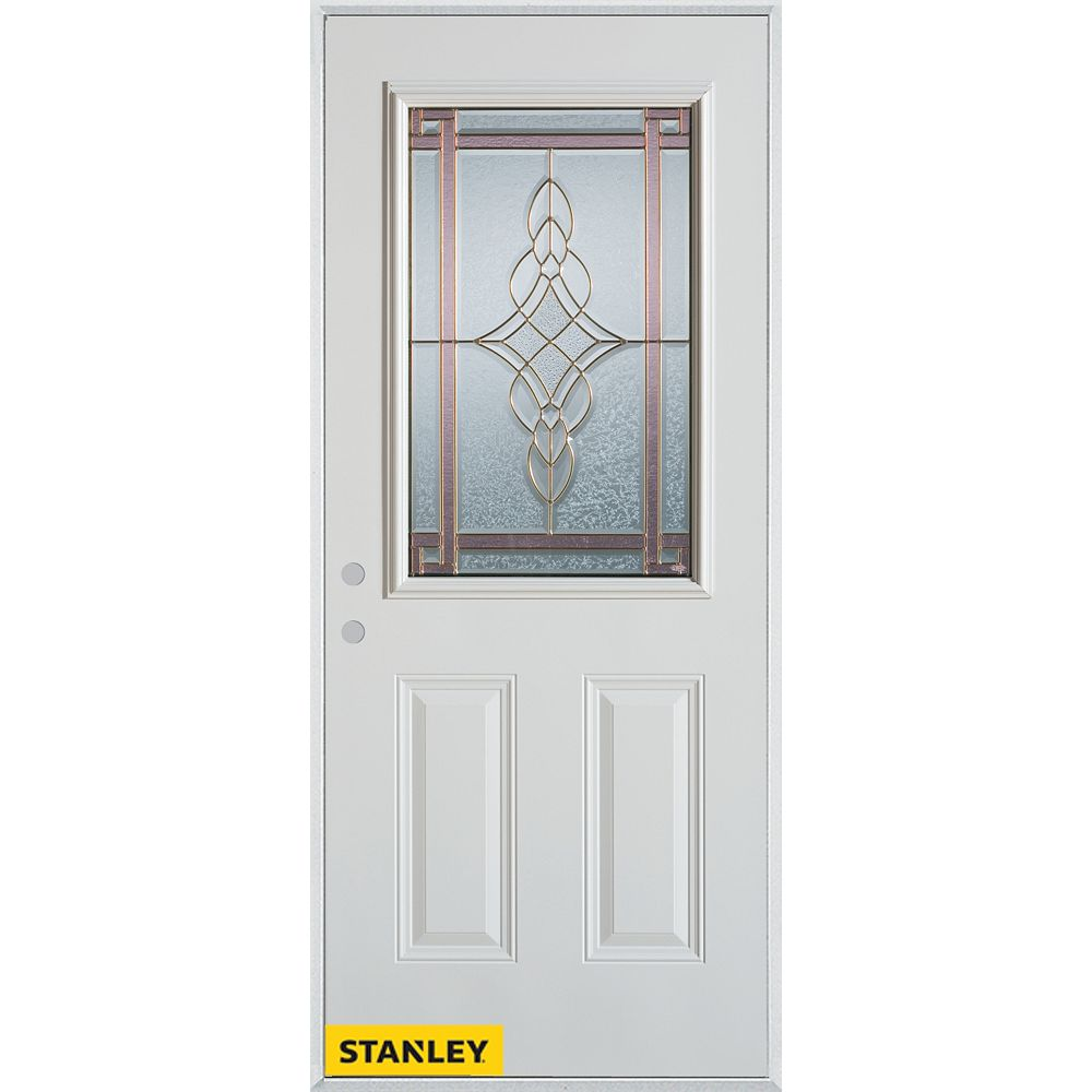 STANLEY Doors 35.375 inch x 82.375 inch Milano Patina 1/2 Lite 2-Panel Prefinished White Right-Hand Inswing Steel Prehung Front Door - ENERGY STAR®