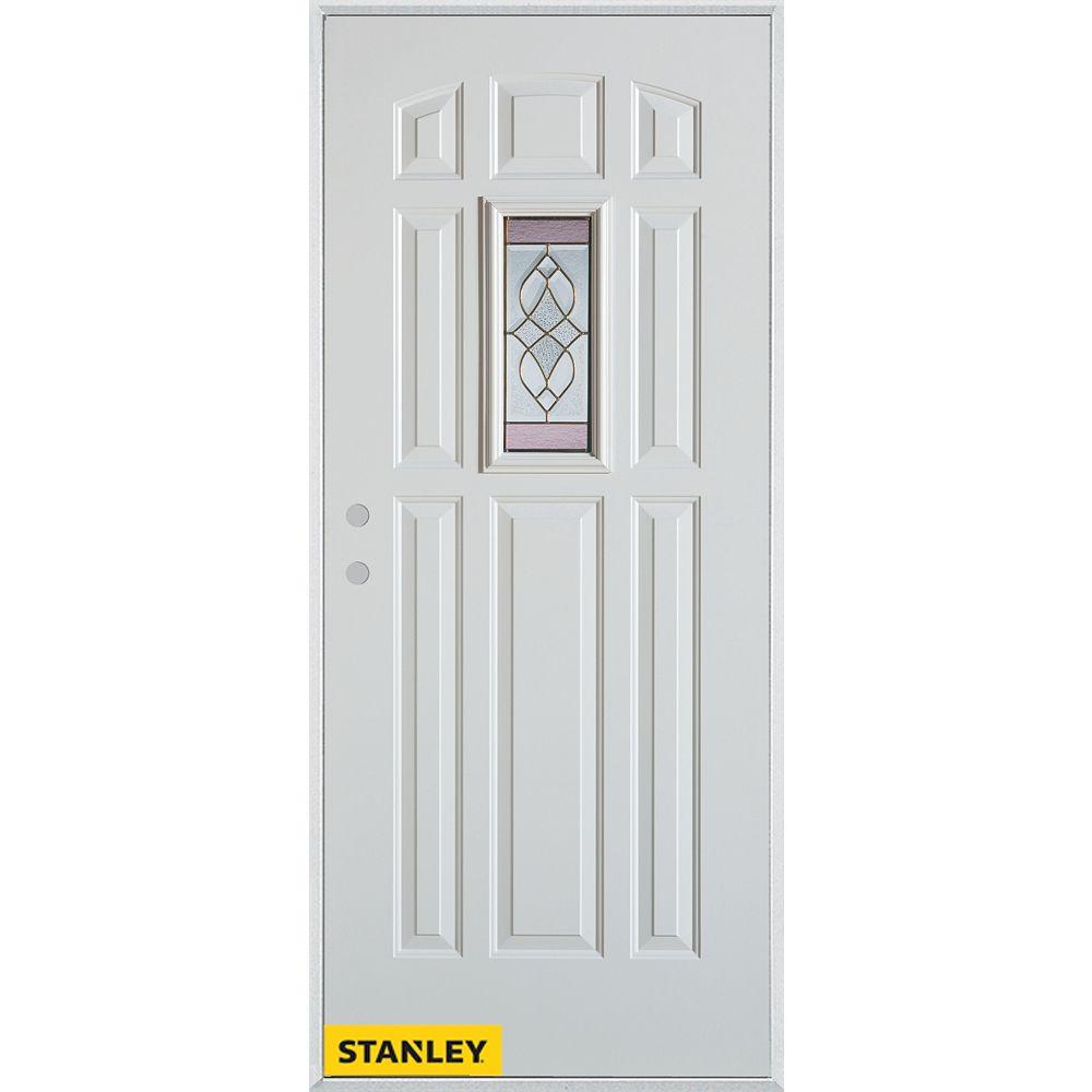 STANLEY Doors Porte dentrée en acier préfini blanc, munie de huit panneaux et dun verre patina rectangulaire, 32 po x 80 po - Droite - ENERGY STAR®