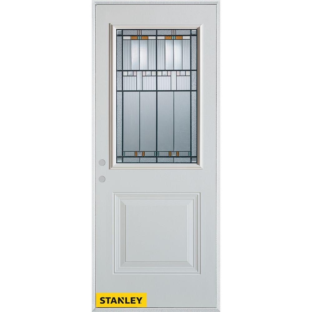 STANLEY Doors Porte dentrée en acier préfini blanc, munie d'un panneau et dun 1/2 verre, 36 po x 80 po - Droite - ENERGY STAR®
