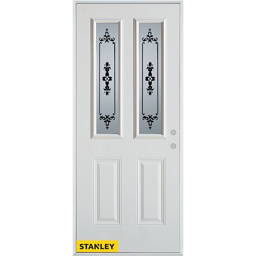 STANLEY Doors 35.375 inch x 82.375 inch Renoir 2-Lite 2-Panel Prefinished White Left-Hand Inswing Steel Prehung Front Door - ENERGY STAR®
