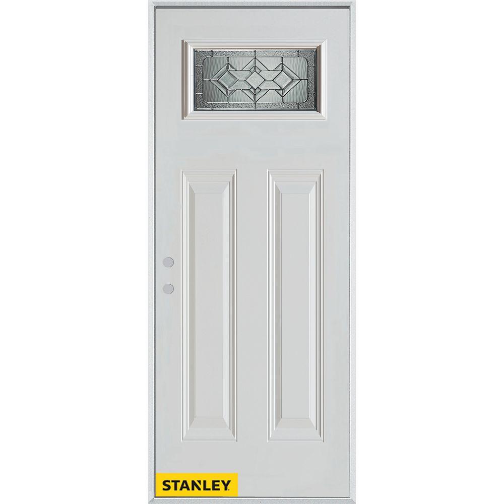STANLEY Doors Porte dentrée en acier préfini blanc, munie de deux panneaux et d'un verre rectangulaire, 36 po x 80 po - Droite - ENERGY STAR®