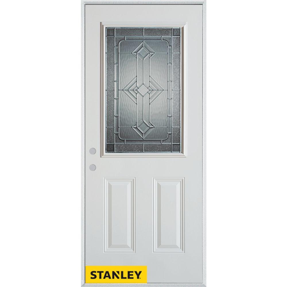STANLEY Doors 33.375 inch x 82.375 inch Neo Deco Zinc 1/2 Lite 2-Panel Prefinished White Right-Hand Inswing Steel Prehung Front Door - ENERGY STAR®