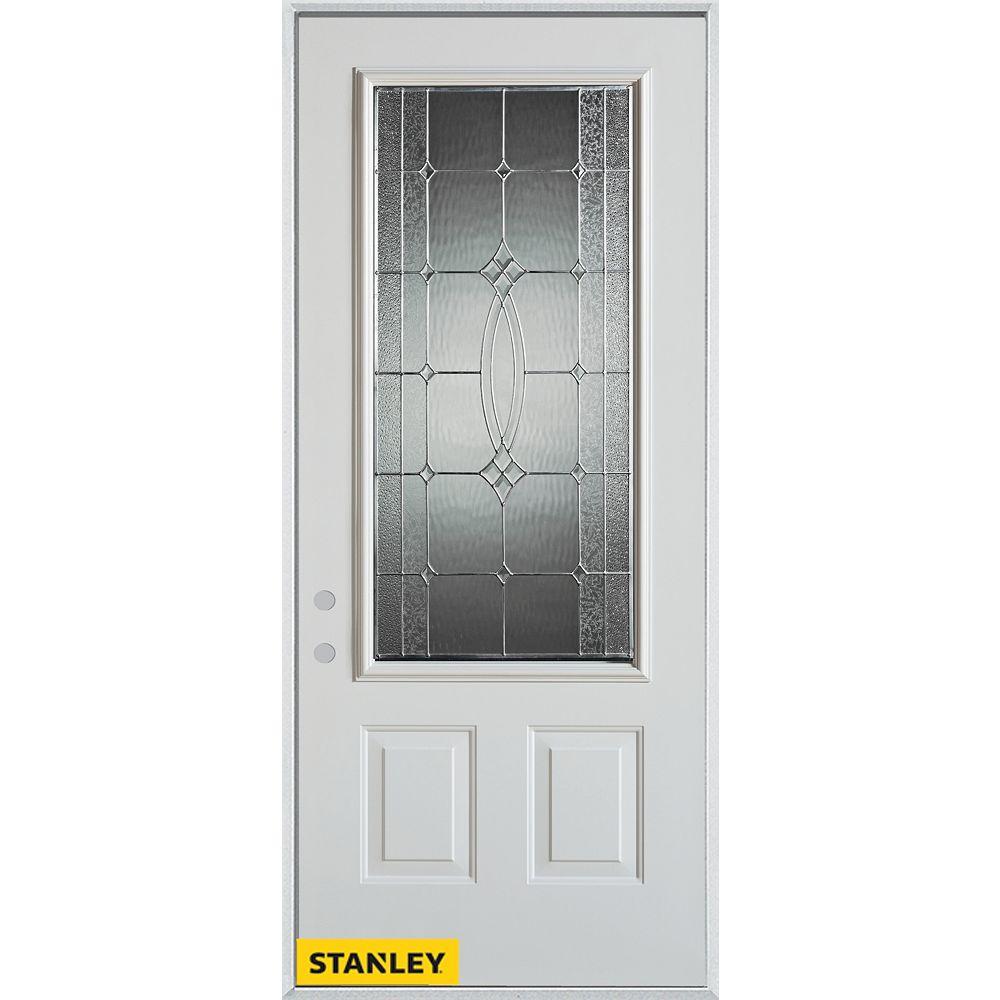 STANLEY Doors 35.375 inch x 82.375 inch Diamanti Zinc 3/4 Lite 2-Panel Prefinished White Right-Hand Inswing Steel Prehung Front Door - ENERGY STAR®