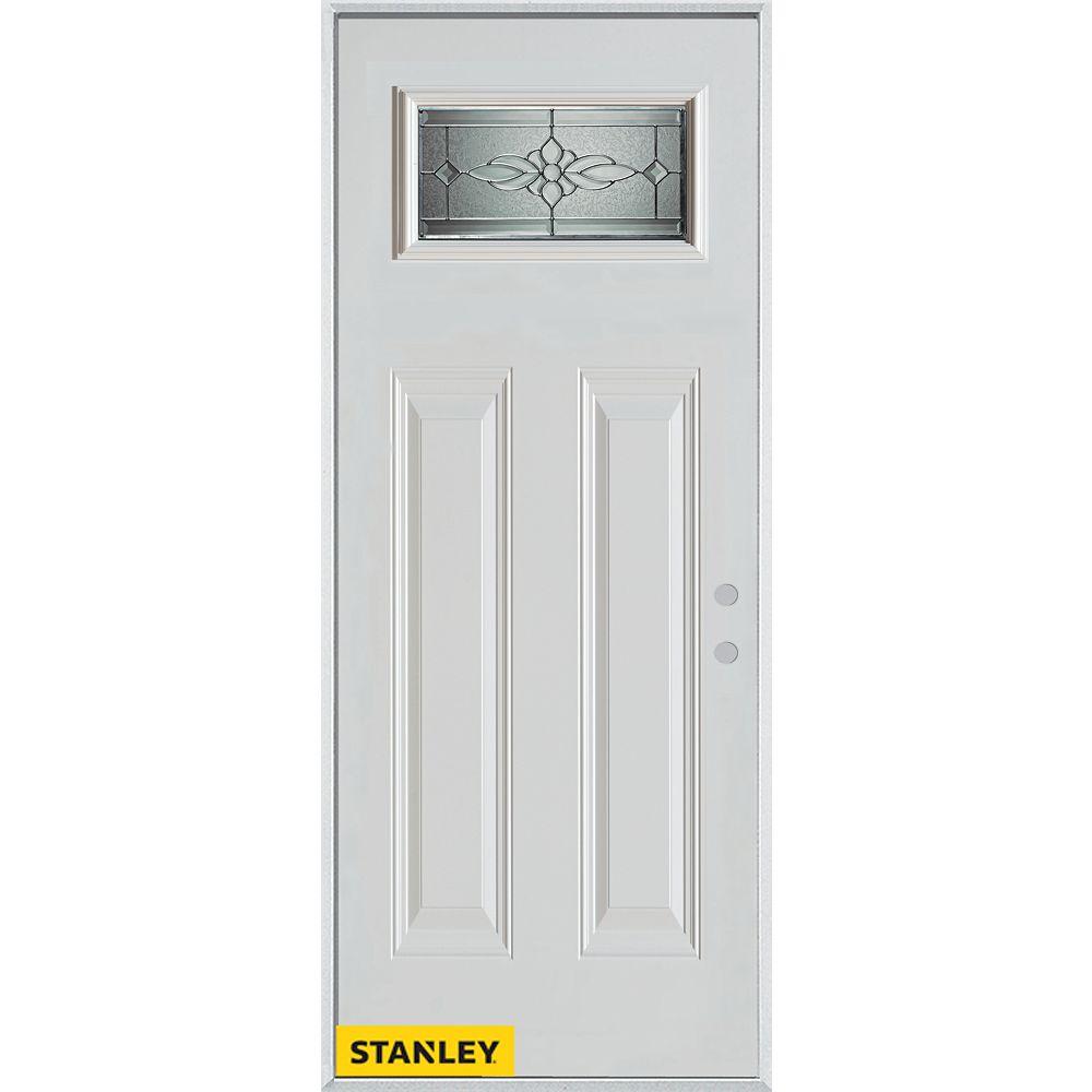 STANLEY Doors Porte dentrée en acier préfini blanc, munie de deux panneaux et d'un verre zinc rectangulaire, 36 po x 80 po - Gauche - ENERGY STAR®