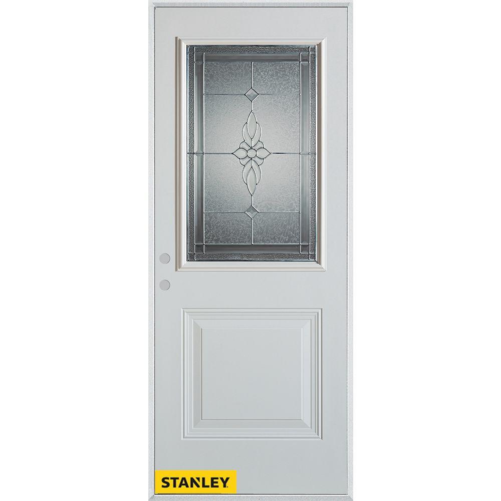 STANLEY Doors 35.375 inch x 82.375 inch Victoria Zinc 1/2 Lite 1-Panel Prefinished White Right-Hand Inswing Steel Prehung Front Door - ENERGY STAR®