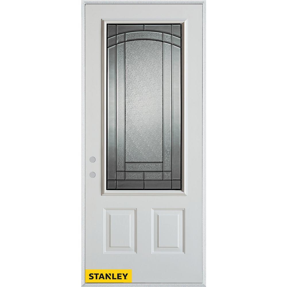 STANLEY Doors Porte dentrée en acier préfini blanc, munie de deux panneaux et dun 3/4 verre, 36 po x 80 po - Droite - ENERGY STAR®