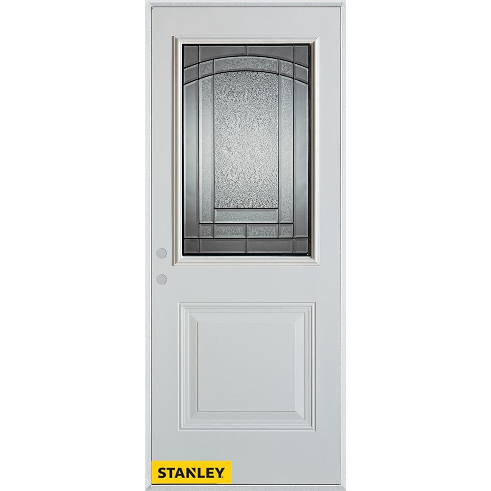 STANLEY Doors 35.375 inch x 82.375 inch Chatham Patina 1/2 Lite 1-Panel Prefinished White Right-Hand Inswing Steel Prehung Front Door - ENERGY STAR®