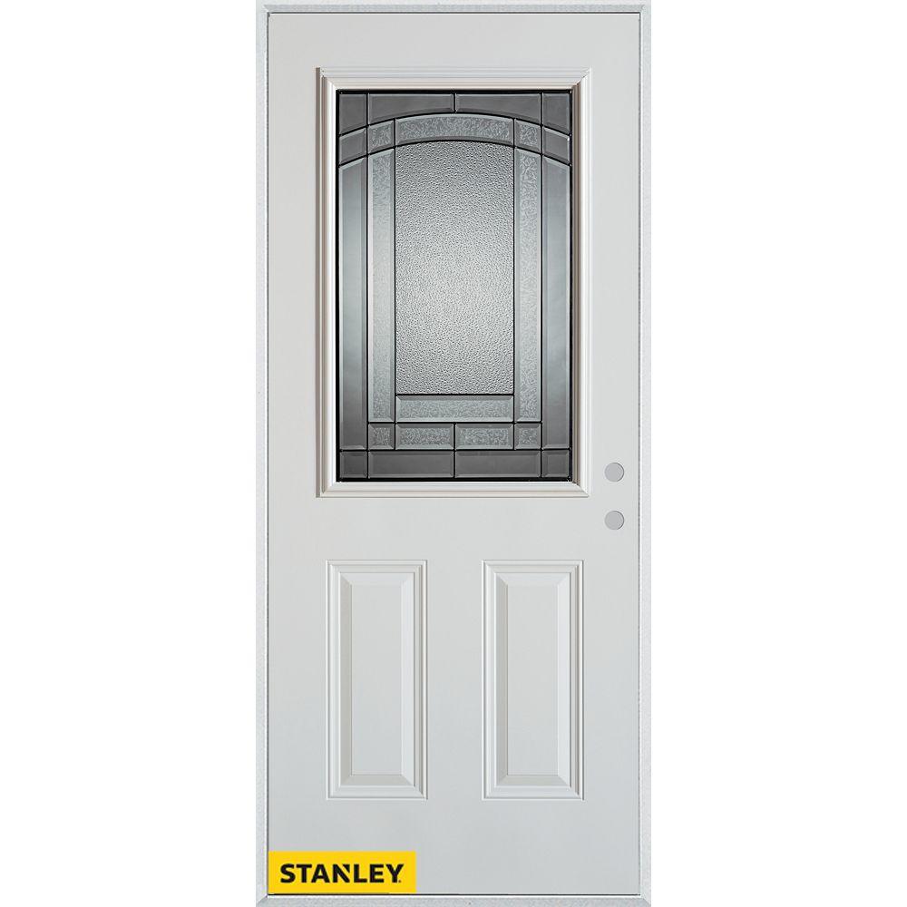 STANLEY Doors Porte dentrée en acier préfini blanc, munie de deux panneaux et dun 1/2 verre, 32 po x 80 po - Gauche - ENERGY STAR®
