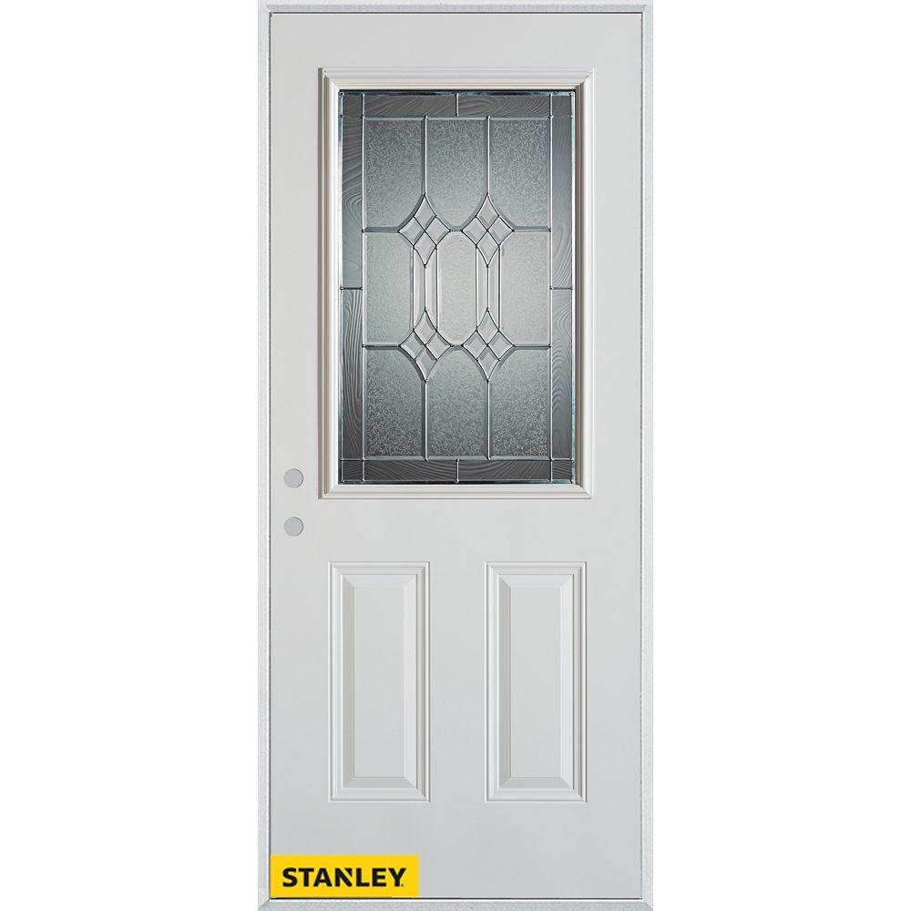 STANLEY Doors Porte dentrée en acier préfini blanc, munie de deux panneaux et dun 1/2 verre zinc, 32 po x 80 po - Droite - ENERGY STAR®