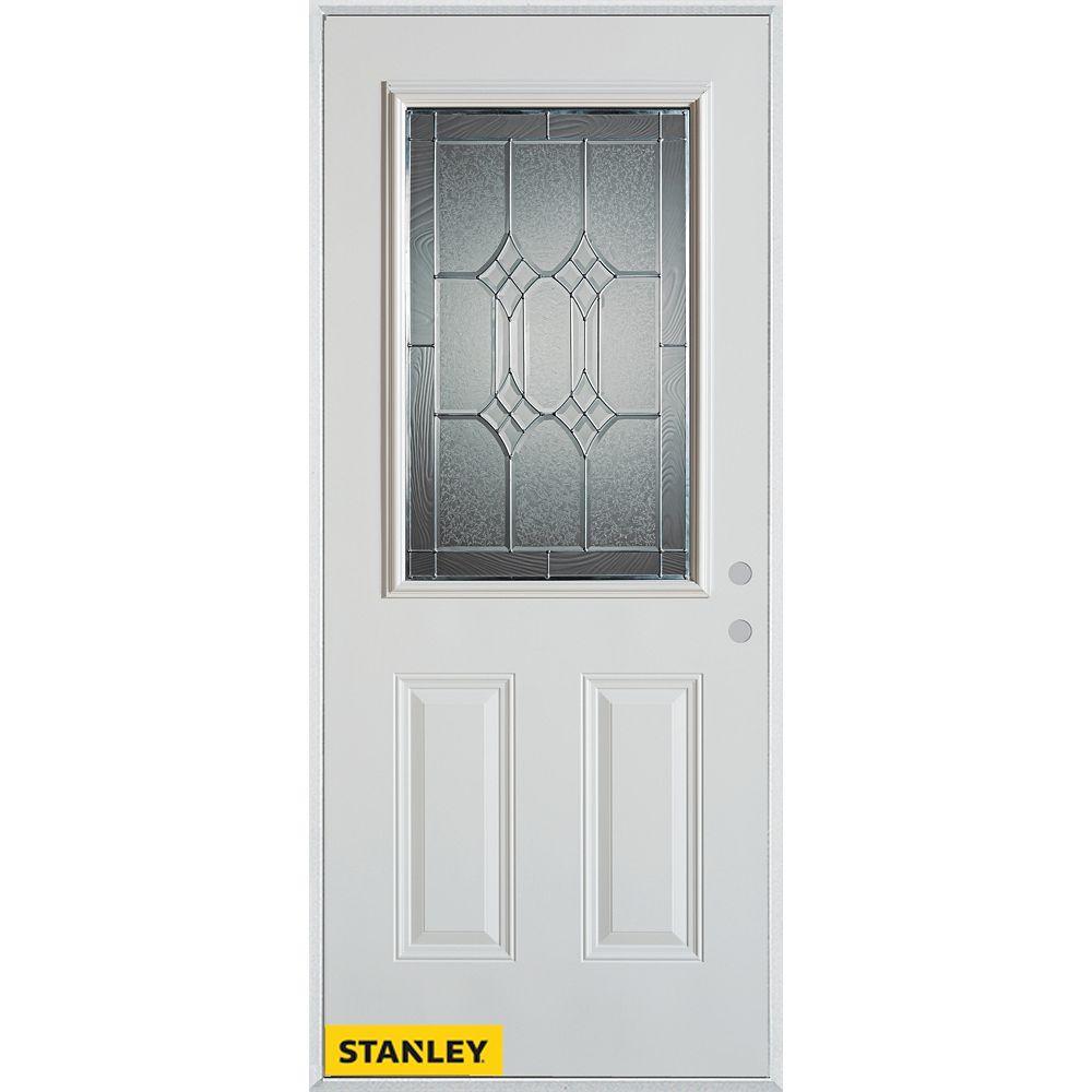 STANLEY Doors 35.375 inch x 82.375 inch Orleans Patina 1/2 Lite 2-Panel Prefinished White Left-Hand Inswing Steel Prehung Front Door - ENERGY STAR®