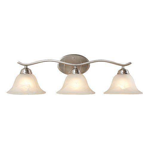 Hampton Bay Applique de salle de bains Andenne, nickel brossé, 3ampoules, diffuseurs cloches en verre marbré